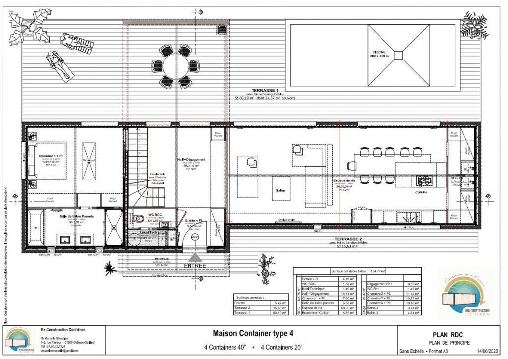 Maison Container AMBRE TOIT TRADITIONNEL - 154,77m²