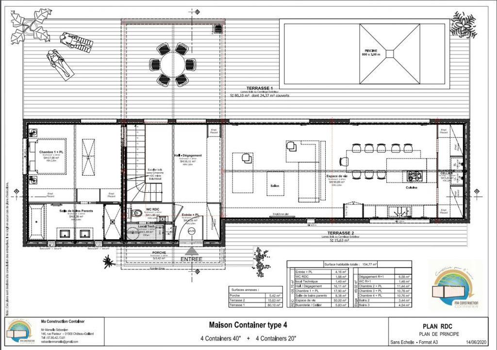 Maison Container AMBRE TOIT PLAT- 154,77m²